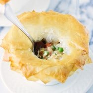 "Skinny Chicken and Vegetable Pot Pie with Phyllo ""Crust"""