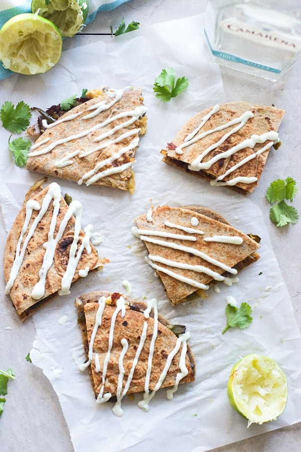 Tequila Lime Stead and Poblano Quesadillas with Citrus Sour Cream