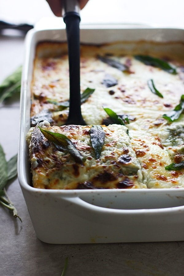Triple Mushroom Lasagna with Homemade Ricotta and Spinach Pasta | cookingforkeeps.com