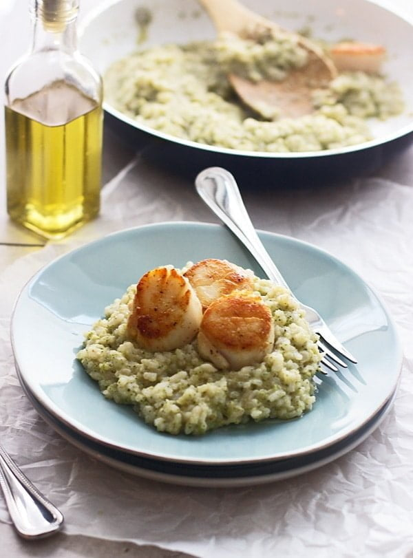 Oven-Baked Risotto with Broccoli Pesto and Seared Scallops - A perfect low maintenance, but impressive dinner!