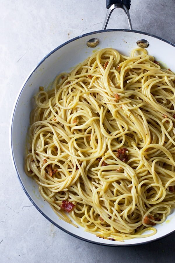 Four Ingredient Spaghetti Carbonara for Two
