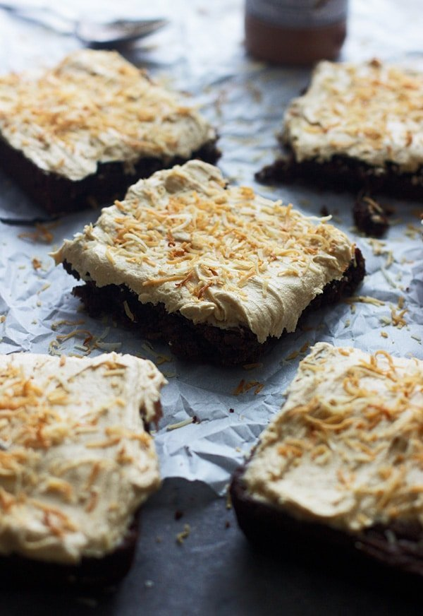 Fudgy Coconut Brownies with Coconut Peanut Butter Frosting