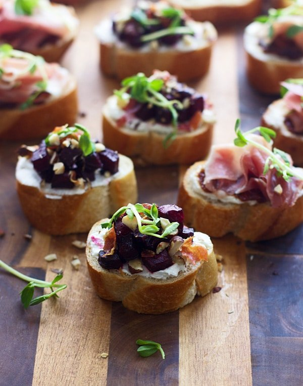 Goat Cheese and Prosciutto Crostini Two Ways - The easiest, crowd-pleasing snack!
