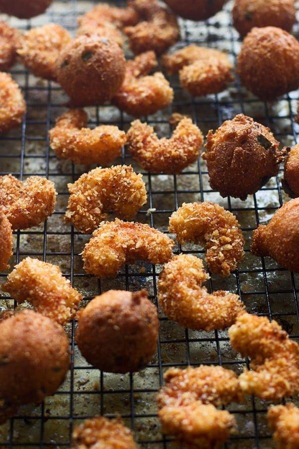 Cajun Popcorn Shrimp and Corn & Jalapeno Hushpuppies with Jalapeno Honey