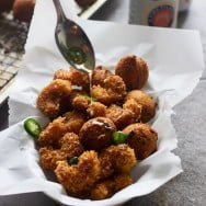Cajun Popcorn Shrimp and Hushpuppies with Jalapeño Honey