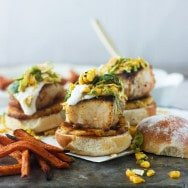 Mahi Mahi Sliders with Grilled Pineapple, Corn Brussels Sprout Slaw and Lime Sour Cream