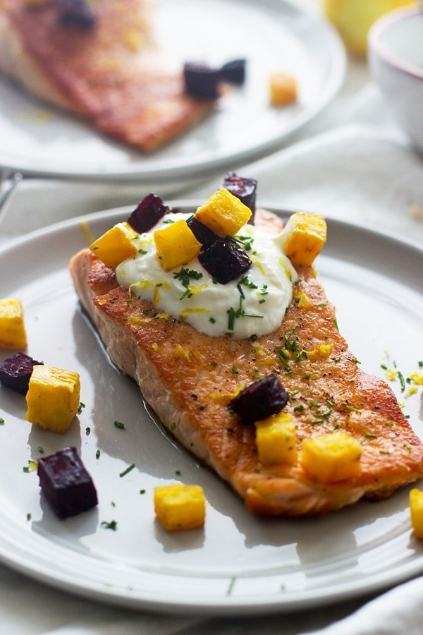 Crispy Salmon with Roasted Beets and Garlicky Lemon Yogurt Sauce