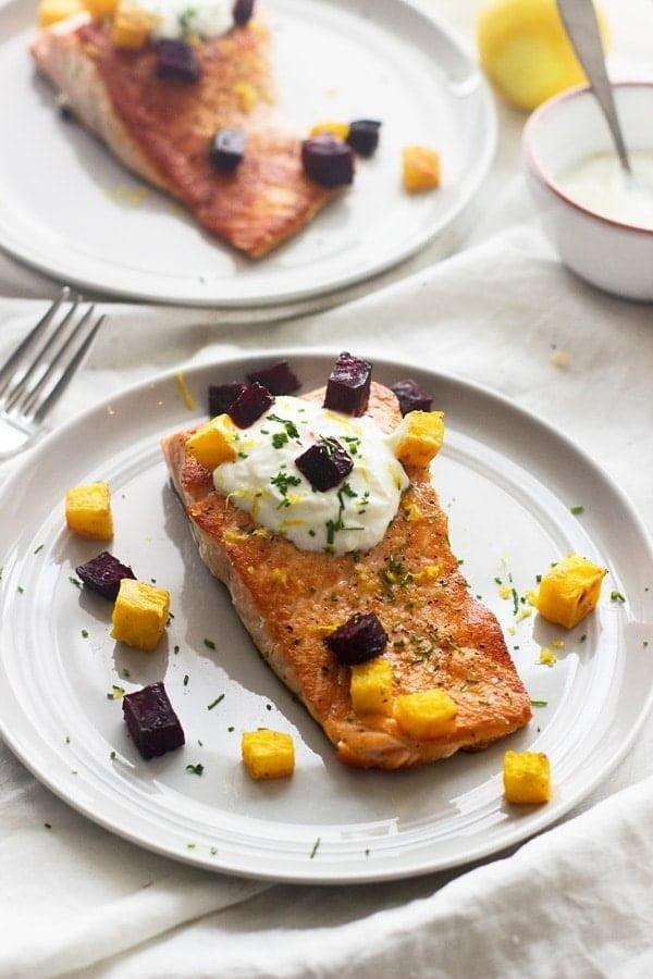 Crispy Salmon with Roasted Beets and Garlicky Lemon Yogurt Sauce 6