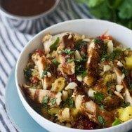 Hawaiian Quinoa Bowls with Cilantro Honey Vinaigrette and Spicy Peanut Sauce