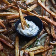 Insanely Crispy Baked Parmesan Fries with Cheater Herbed Aioli