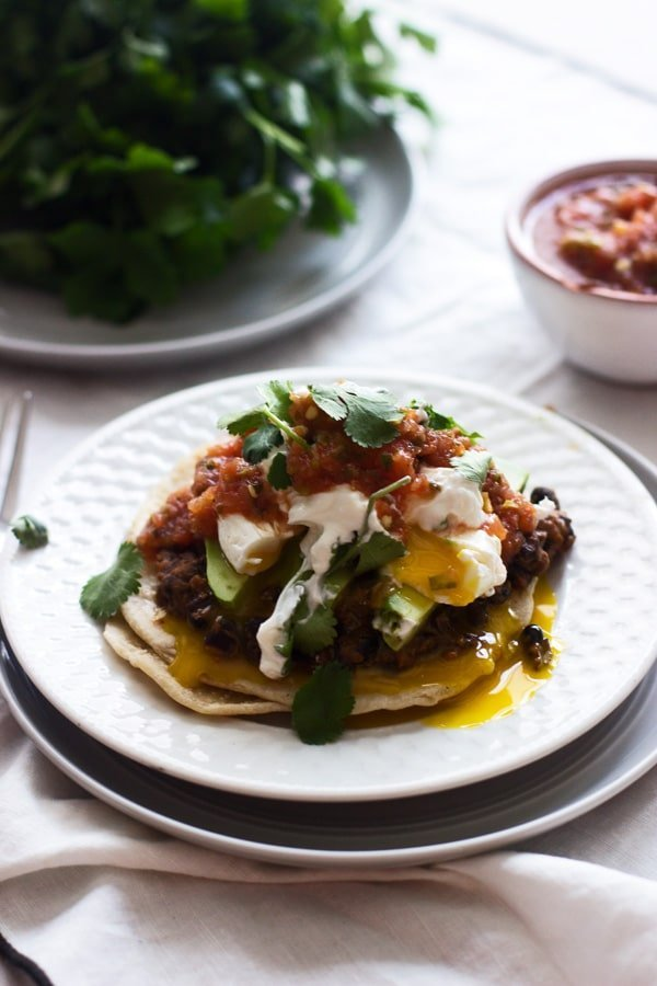 Mexican Breakfast Tostadas with Chorizo Re-fried Beans ...