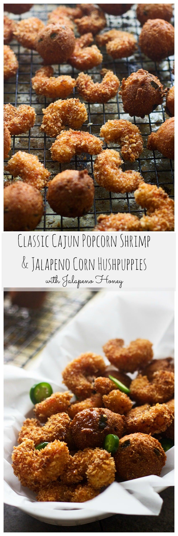 Popcorn Shrimp and Corn Jalapeño Hushpuppies with Jalapeño Honey