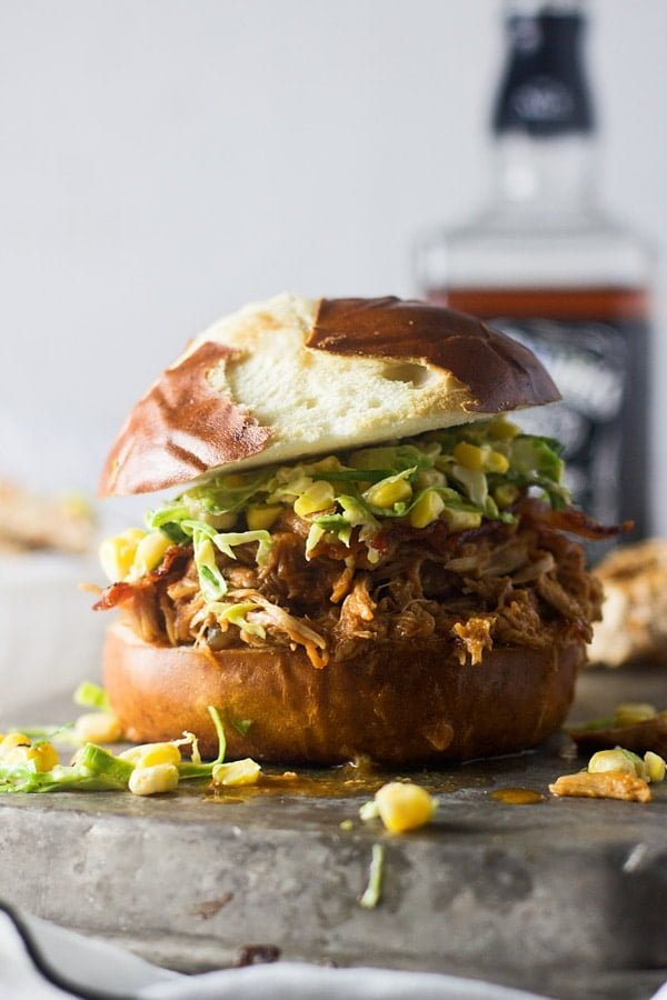 Slow-Cooker Bourbon Brown Sugar Pulled Chicken Sandwiches with Bacon and Brussels Sprout Corn Slaw 4