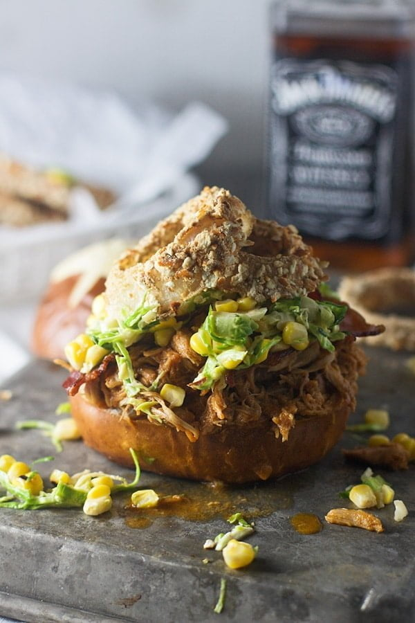 Slow-Cooker Bourbon Brown Sugar Pulled Chicken Sandwiches with Bacon and Brussels Sprout Corn Slaw 6