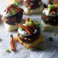 Chipotle Black Bean Sliders with Sweet Potato Fries and Lime Sour Cream