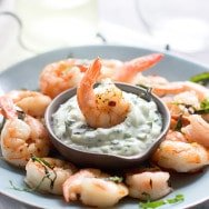"Shrimp ""Cocktail"" with Basil Dipping Sauce"