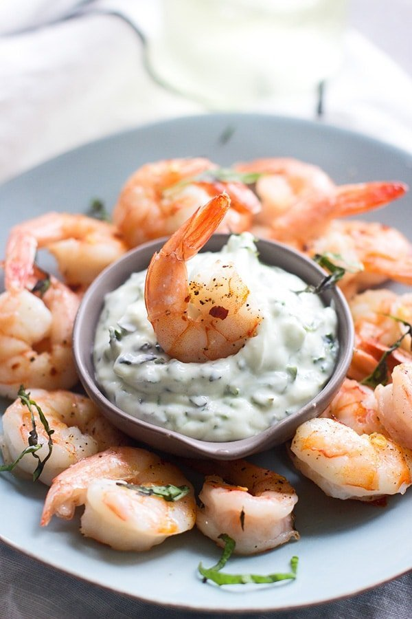 Shrimp Cocktail with Basil Dipping Sauce