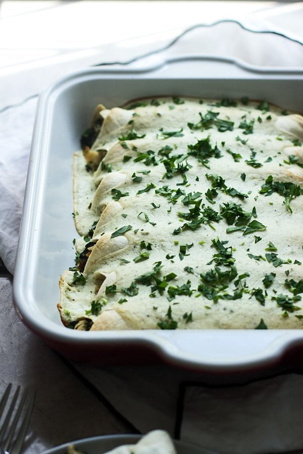 Spinach, Chicken and Cheese Enchiladas with  Jalapeño  Cream Cheese Sauce