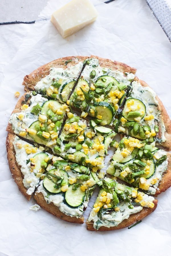 Spring Flatbreads with Herbed Ricotta and Homemade Whole-Wheat Crust