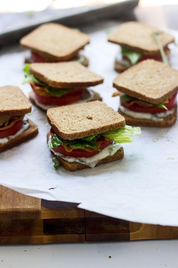 Mini BLT Sandwiches with Basil Lemon Mayo