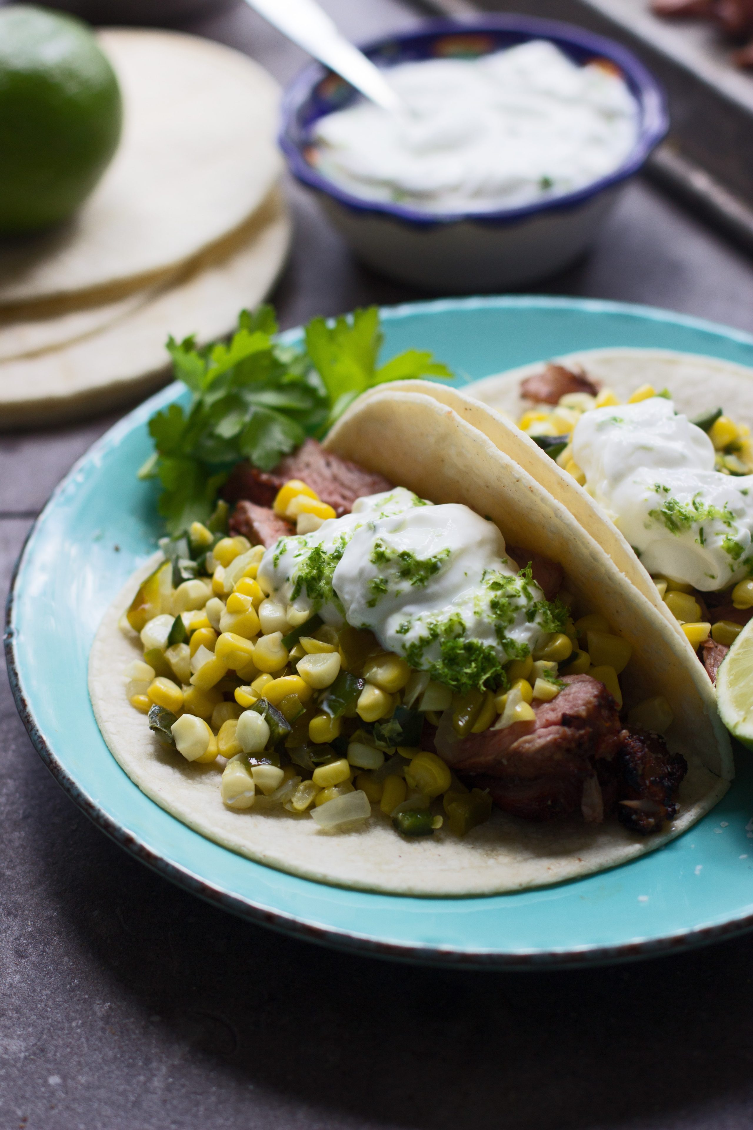 Lime and Chipotle  Marinated Steak Tacos with Corn, Poblanos and Zesty Sour Cream 12