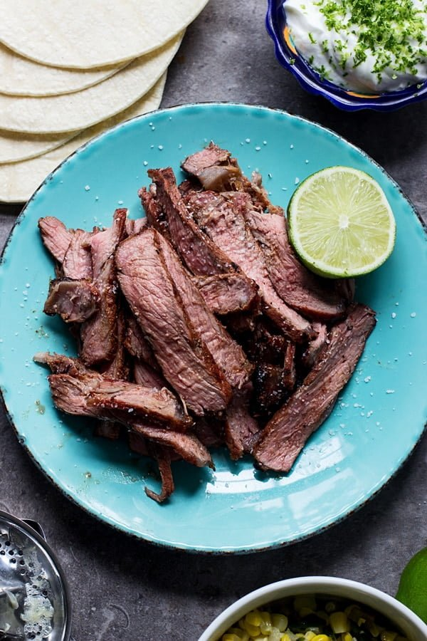 Lime and Chipotle  Marinated Steak Tacos with Corn, Poblanos and Zesty Sour Cream