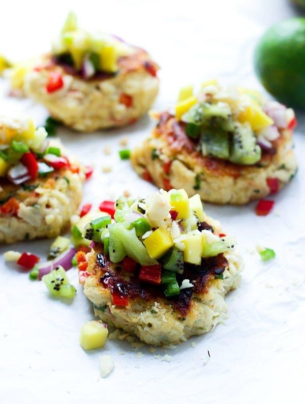 Macadamia Nut Crab Cakes with Tropical Fruit Salsa