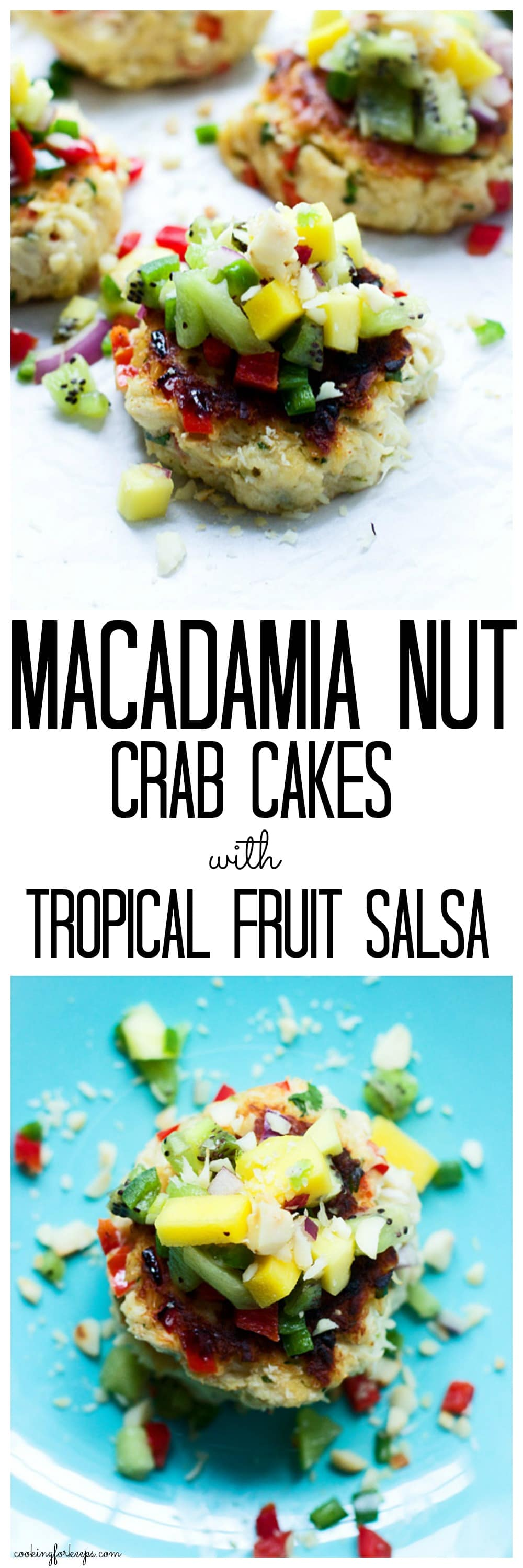 Macadamia Nut Crab Cakes with Tropical Fruit Salsa Collage