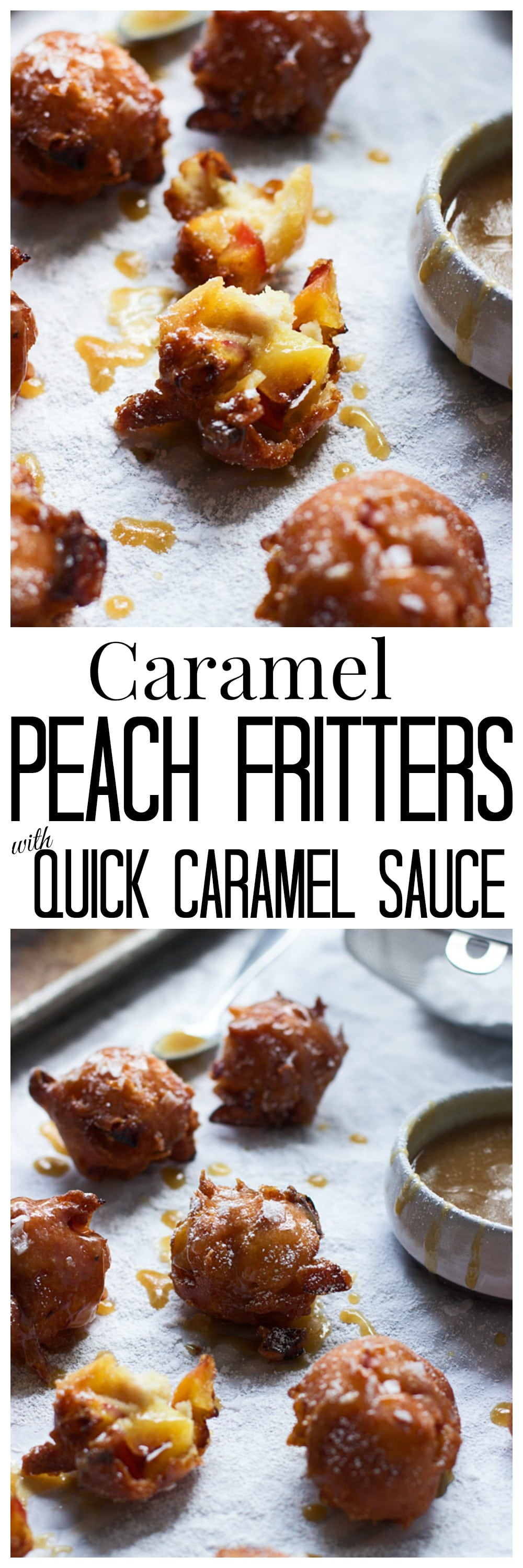Caramel Peach Fritters with Quick Caramel Sauce