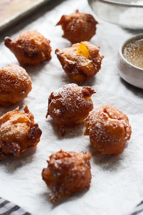 Caramel Peach Fritters with Salted Caramel Sauce