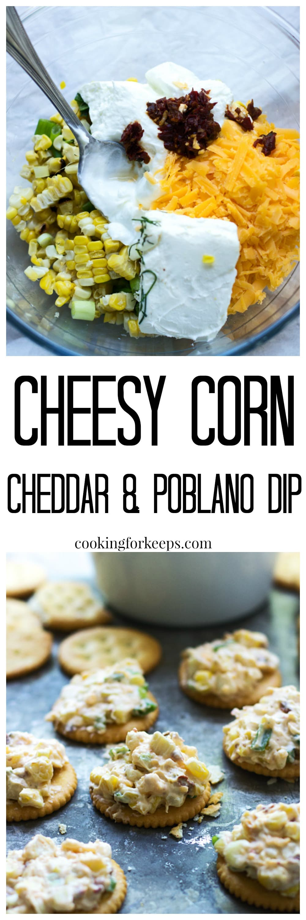 Cheesy Corn, Poblano and Cheddar Dip