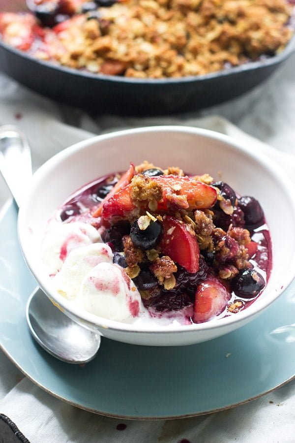 Peach, Blackberry and Blueberry Graham Cracker Crumble