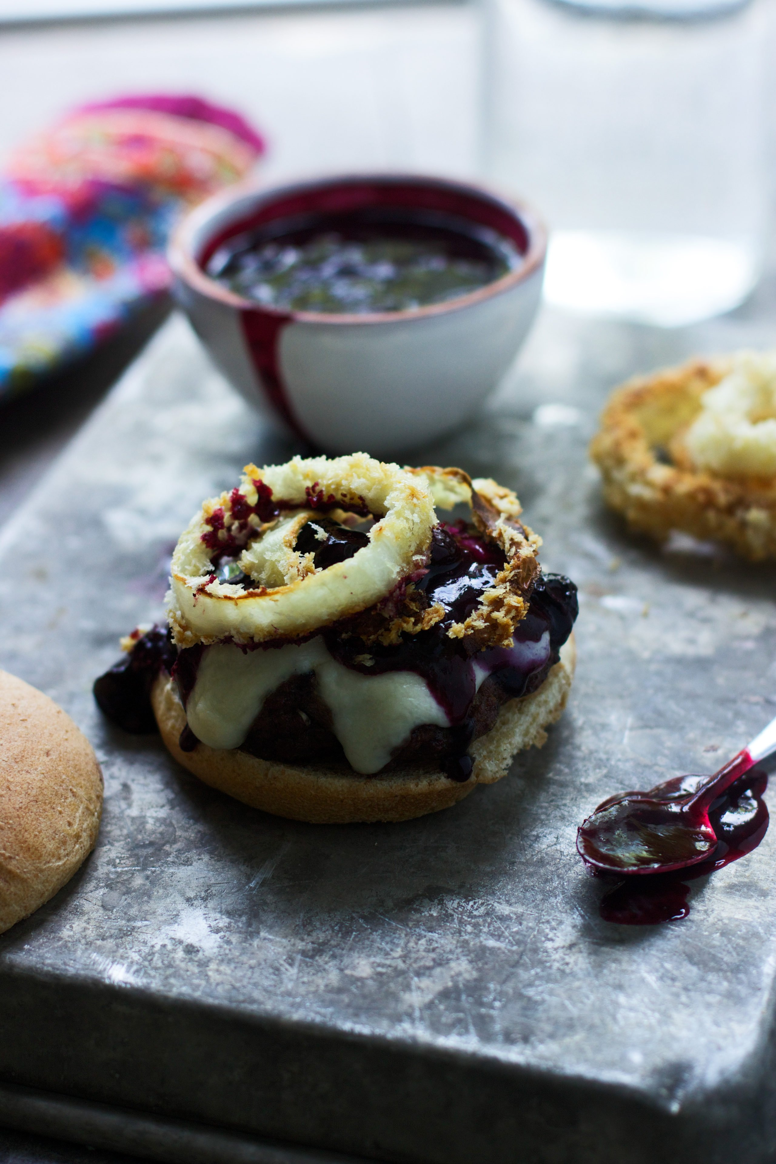 Burgers with Balsamic Blueberries, Baked Onion Ring and Mozzarella 3