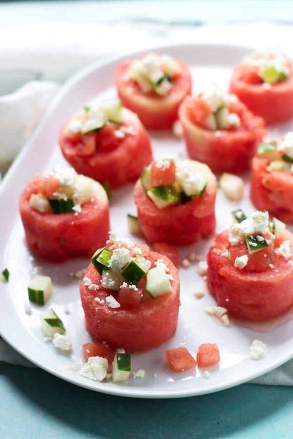 Watermelon, Feta and Cucumber Salad Cups 2
