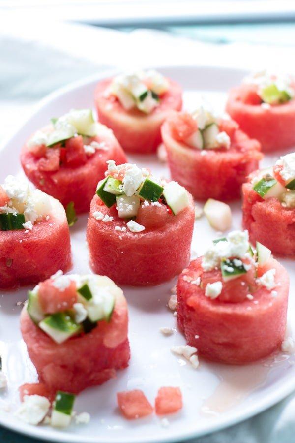 Watermelon, Feta and Cucumber Salad Cups 4
