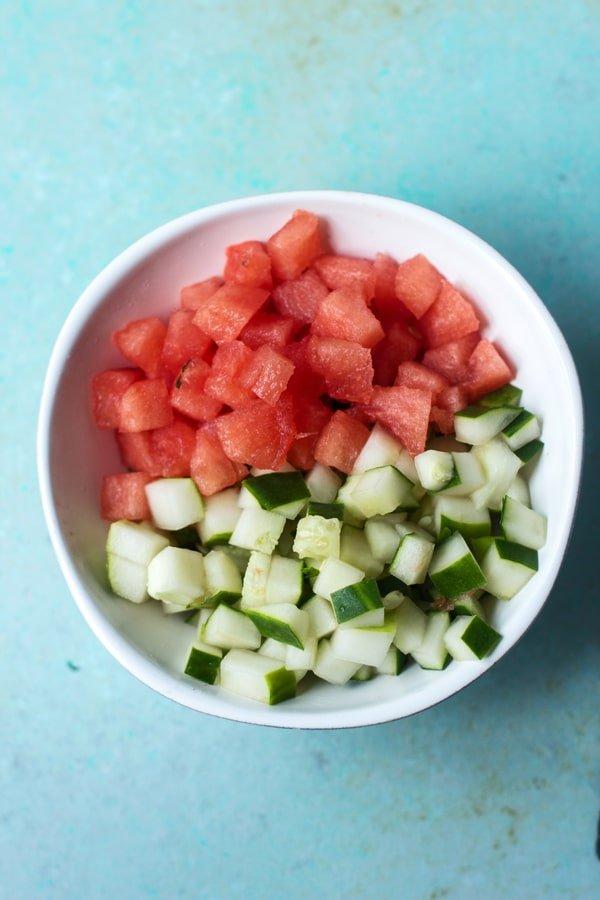 Watermelon, Feta and Cucumber Salad Cups