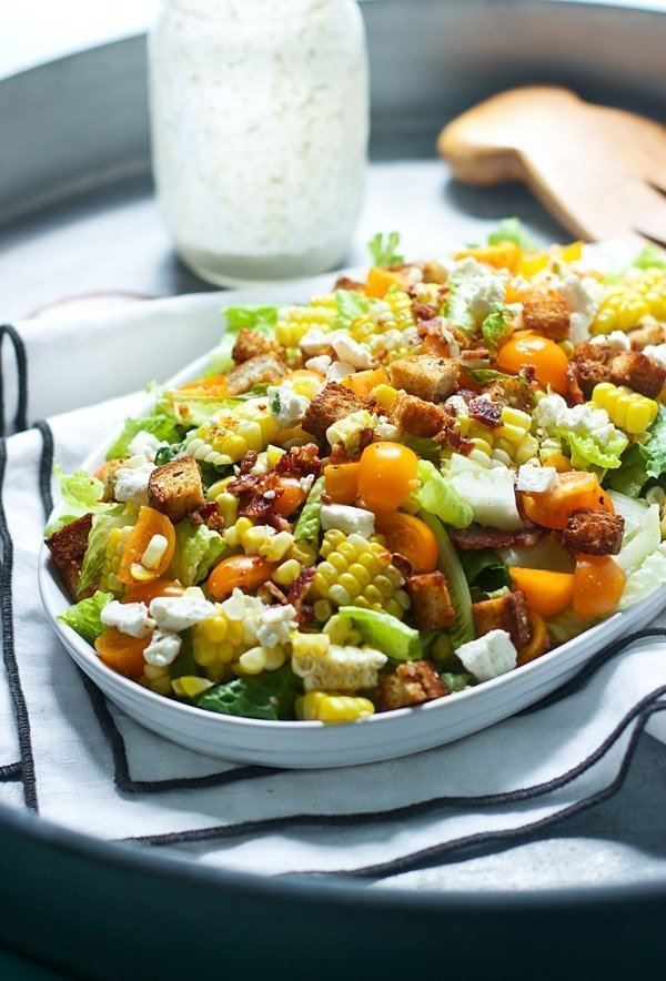 Chopped Summer Salad with Spicy (Light) Buttermilk Ranch