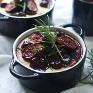 Creamy Goat Cheese Polenta with Roasted Figs, Tart Cherries and Fried Rosemary