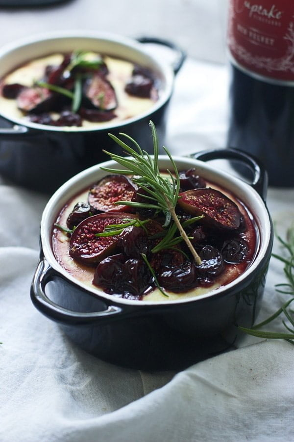 Creamy Goat Cheese Polenta with Roasted Figs, Tart Cherries and Fried ...