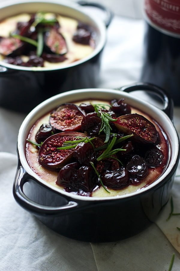 Creamy Goat Cheese Polenta with Roasted Figs, Tart Cherries and Fried Rosemary 5