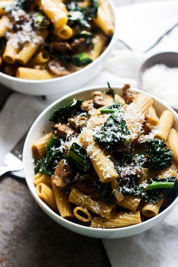 Creamy Marsala Rigatoni with Mushrooms and Kale - Cooking for Keeps