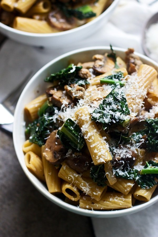 Creamy Marsala Rigatoni with Mushrooms and Kale