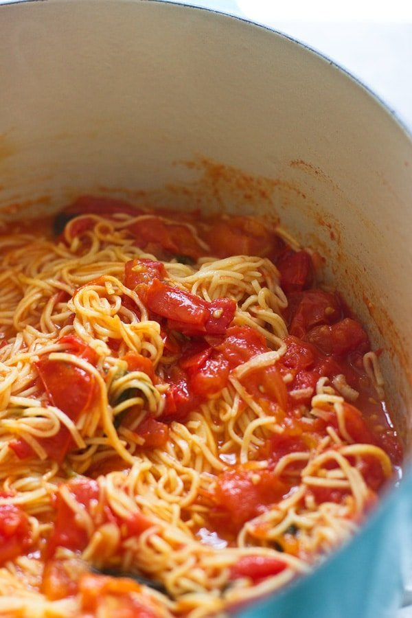 Simmer pasta and sauce together until pasta is cooked through