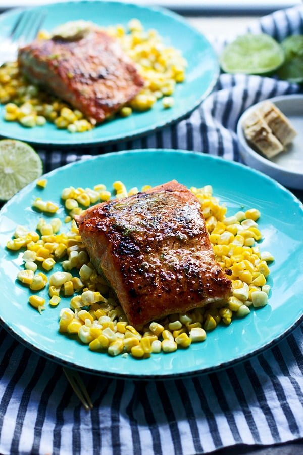 Seared Salmon with Chipotle Lime Honey Butter