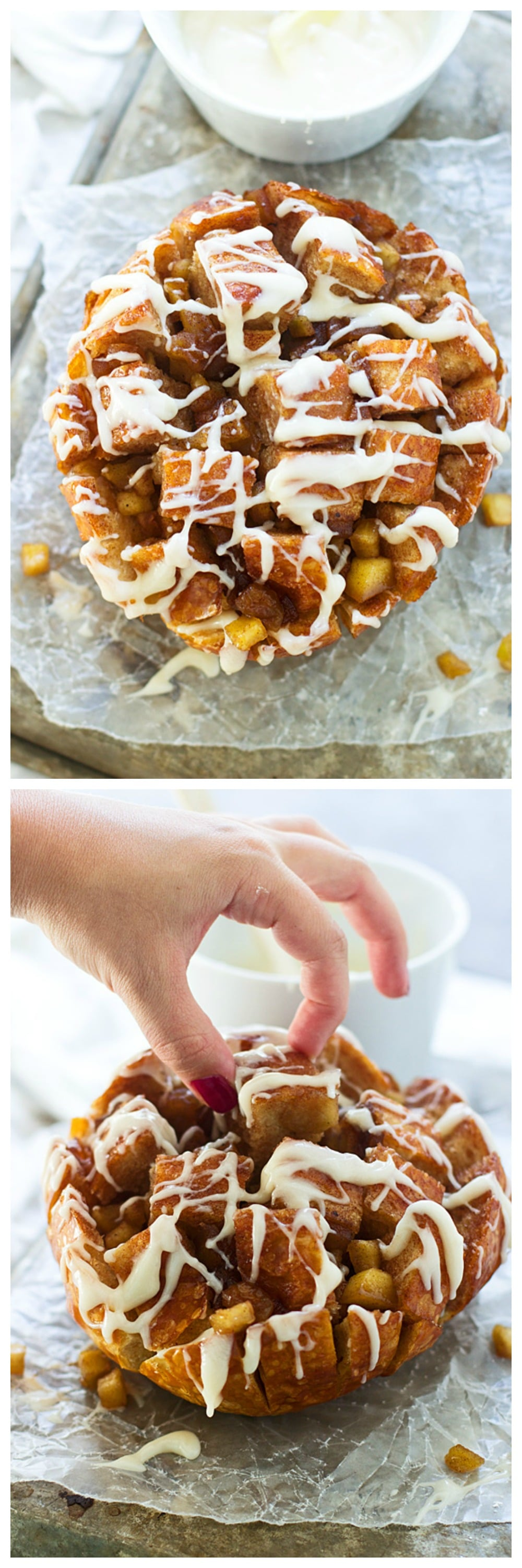 Brown Butter Caramel Apple Pull-Apart Bread with Cream Cheese Icing - Tastes like a mix between a sticky bun and a cinnamon roll, but is SO much easier to make!