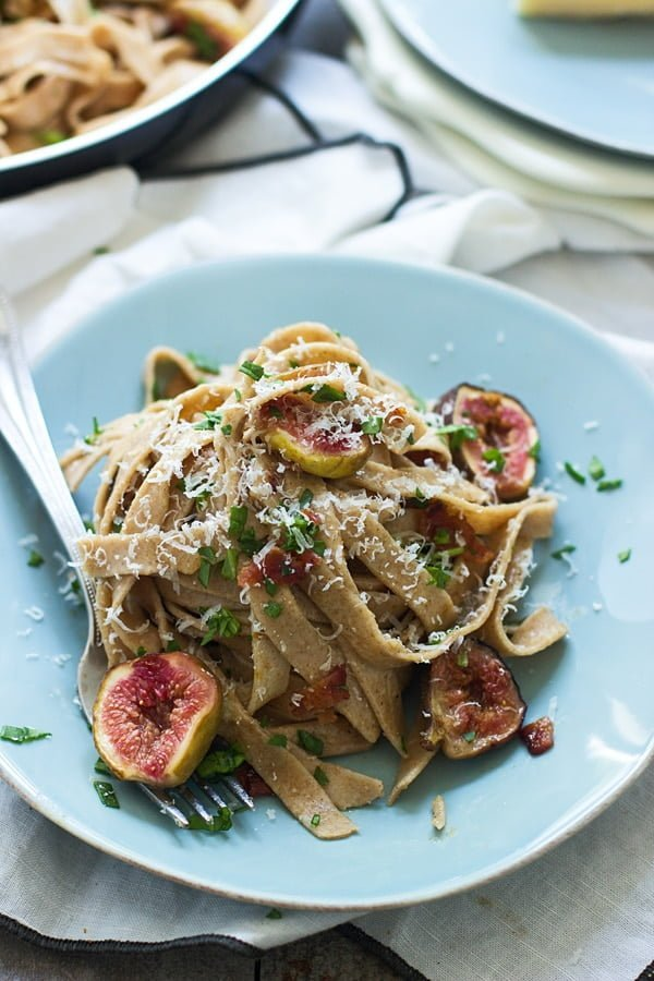 Impress guests with this Brown Butter Carbonara with Brown Sugar Roasted Figs and Whole-Wheat Fettuccine -- elegant, easy and so delish!