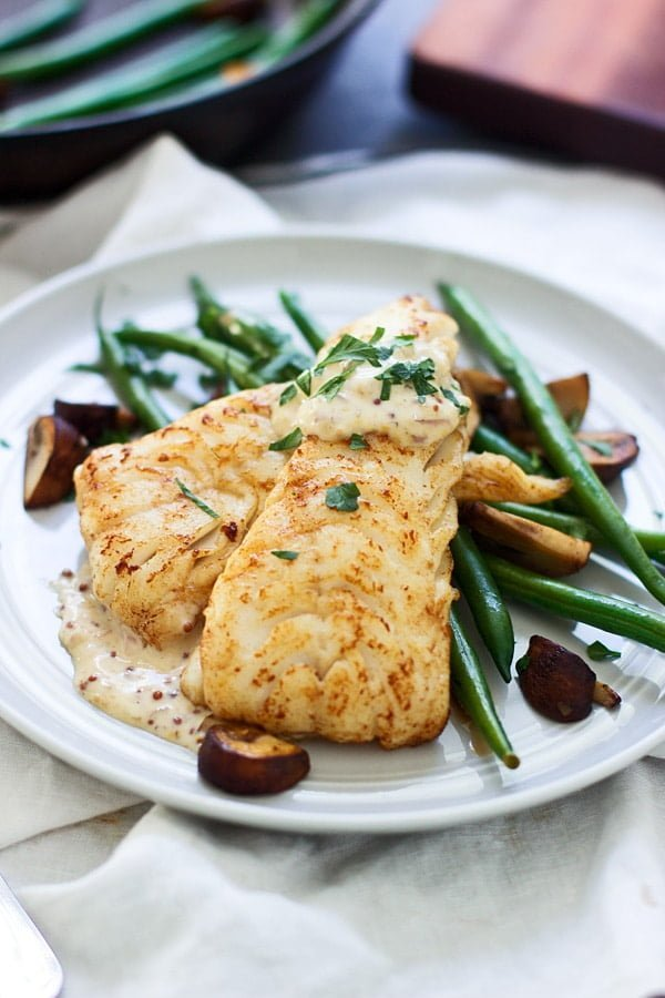 Brown Butter Seared Haddock with Mustard Cream Sauce 2