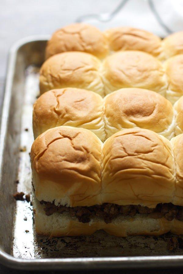 Cheeseburger filling on Hawaiian rolls