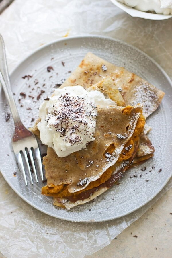Pumpkin and Chocolate Mousse Crepes