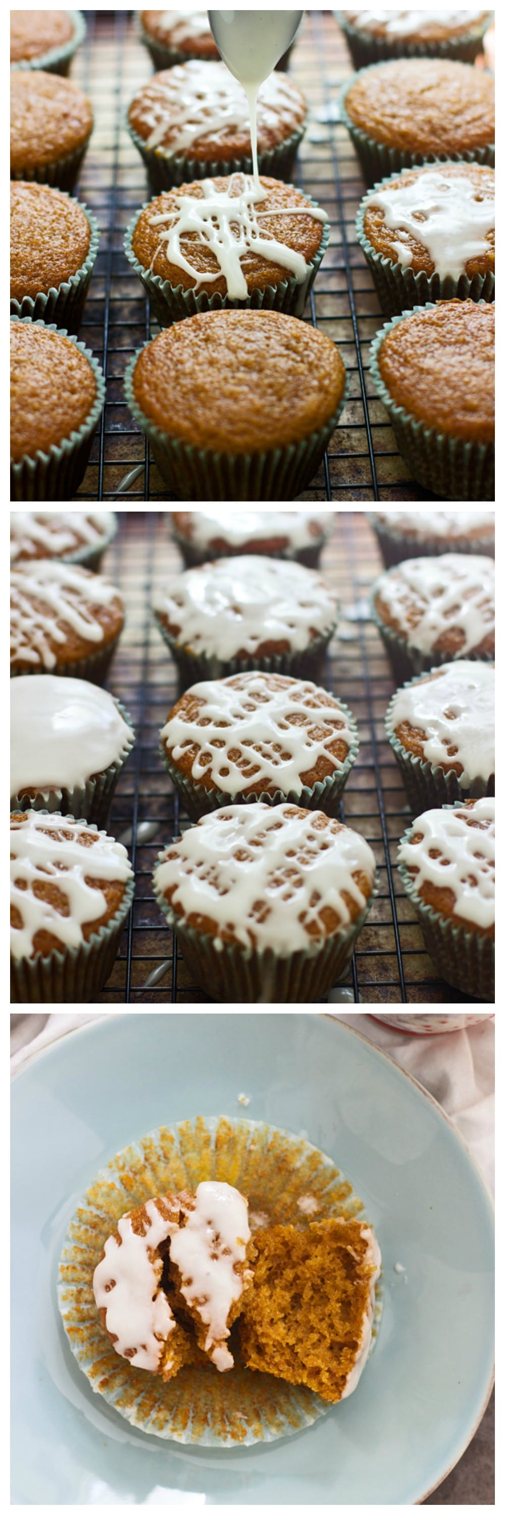 The BEST Apple Cider Pumpkin Muffins with Apple Cider Glaze - One bowl, endlessly moist and SO GOOD!